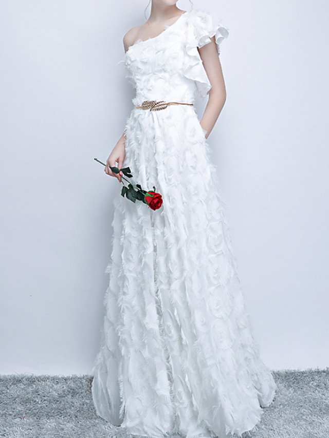 A-Line Elegant White Party Wear Prom Dress One Shoulder Sleeveless Floor Length Polyester with Appliques 2020