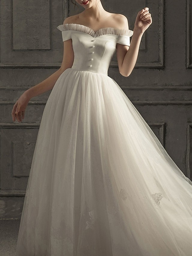 A-Line Wedding Dresses Off Shoulder Floor Length Lace Short Sleeve Beach with Buttons 2020