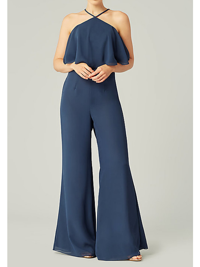 Jumpsuits Halter Neck Floor Length Polyester Bridesmaid Dress with Ruffles