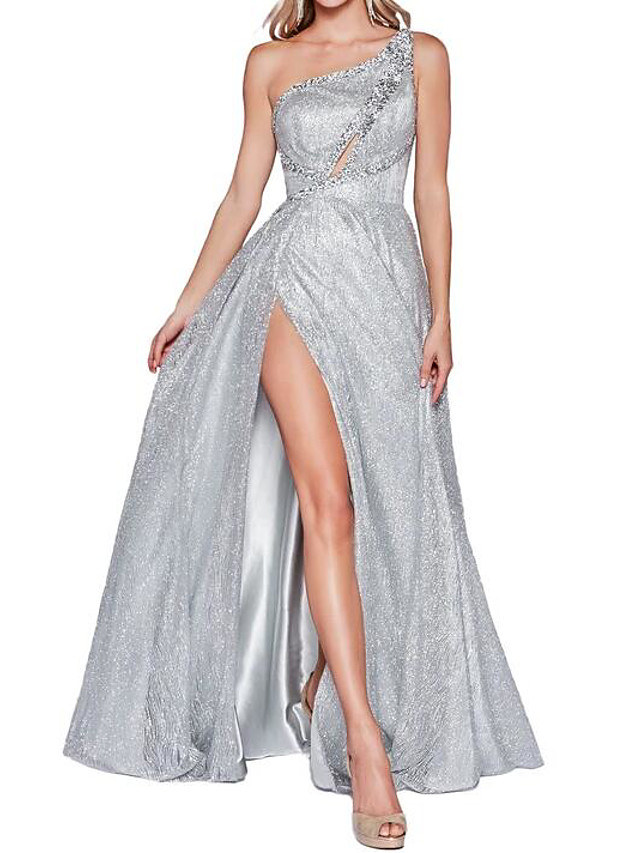 A-Line Sparkle Engagement Prom Dress One Shoulder Sleeveless Floor Length Polyester with Crystals Split 2020