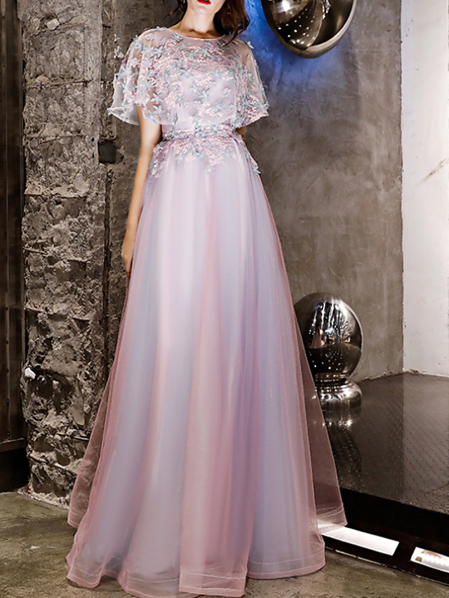 A-Line Floral Purple Wedding Guest Prom Dress Jewel Neck Short Sleeve Floor Length Polyester with Appliques 2020