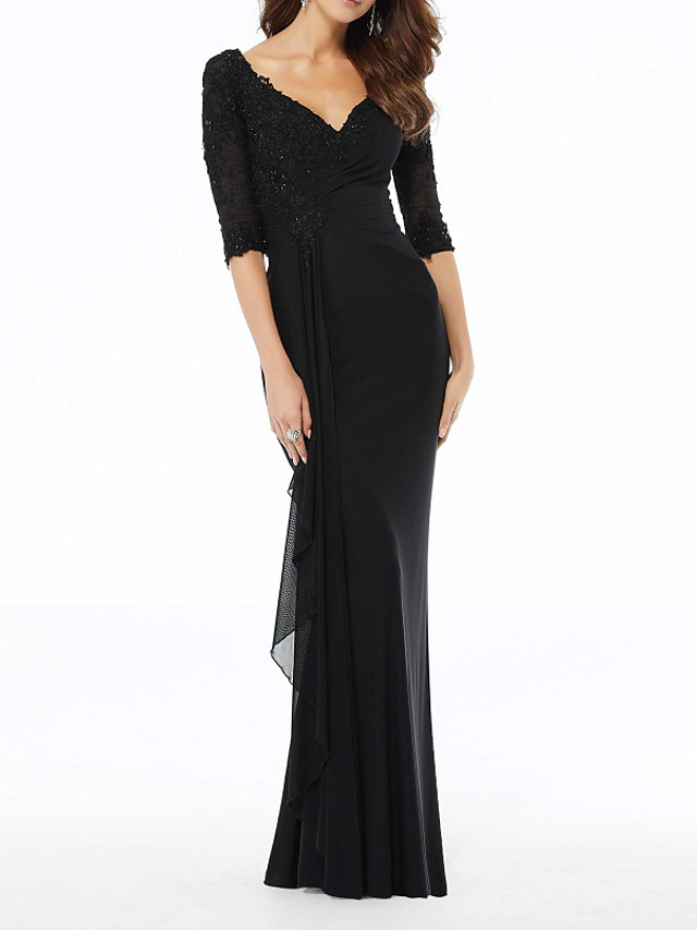 Sheath / Column Elegant Black Wedding Guest Formal Evening Dress V Neck Half Sleeve Sweep / Brush Train Polyester with Beading Draping Appliques 2020