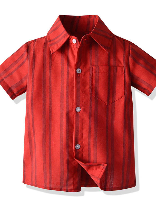 Kids Boys' Basic Striped Short Sleeve Shirt Red