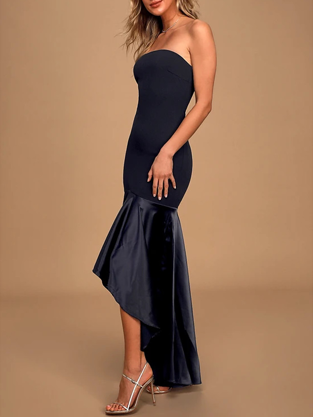 Mermaid / Trumpet Sexy Black Cocktail Party Formal Evening Dress Strapless Sleeveless Asymmetrical Charmeuse Polyester with Pleats 2020