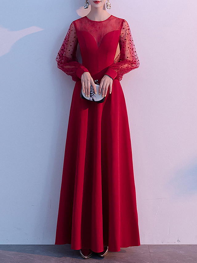 A-Line Elegant Red Wedding Guest Prom Dress Illusion Neck Jewel Neck Long Sleeve Floor Length Tulle Spandex with Beading 2020