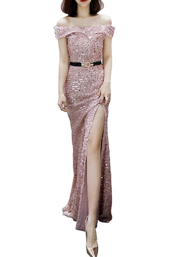 Sheath / Column Sexy Pink Prom Formal Evening Dress Off Shoulder Short Sleeve Floor Length Polyester with Sequin Split 2020