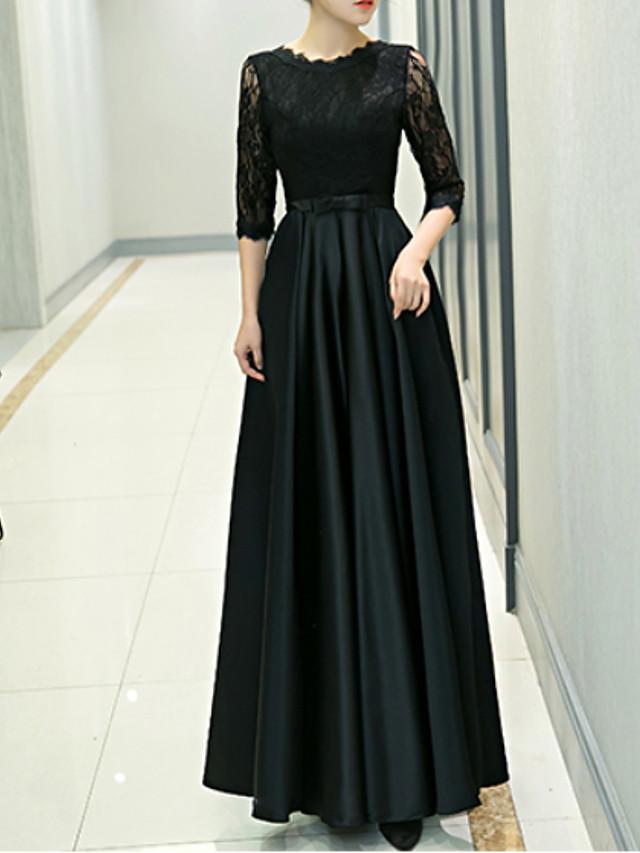 A-Line Elegant Black Wedding Guest Formal Evening Dress Jewel Neck Half Sleeve Floor Length Polyester with Pleats 2020