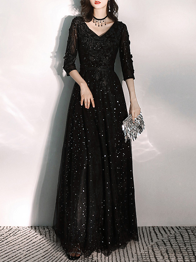A-Line Glittering Black Prom Formal Evening Dress V Neck 3/4 Length Sleeve Floor Length Tulle with Appliques 2020