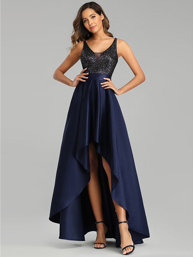 A-Line Sexy Blue Prom Formal Evening Dress V Neck Sleeveless Asymmetrical Satin Polyester with Sequin 2020
