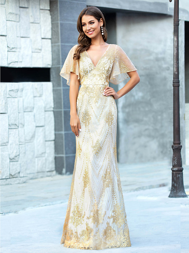 Mermaid / Trumpet Luxurious Gold Prom Formal Evening Dress V Neck Short Sleeve Floor Length Tulle with Sequin Pattern / Print 2020