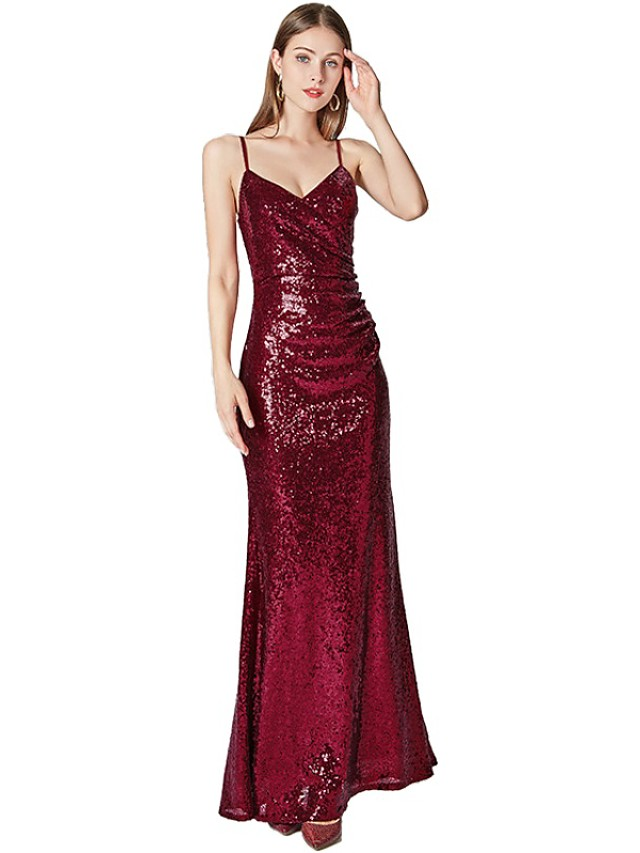 Sheath / Column Sparkle Red Prom Formal Evening Dress Spaghetti Strap Sleeveless Floor Length Tulle Sequined with Sequin 2020