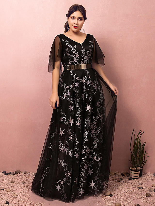 A-Line Plus Size Black Prom Formal Evening Dress V Neck Half Sleeve Floor Length Lace Satin Tulle with Sash / Ribbon Pleats Sequin 2020