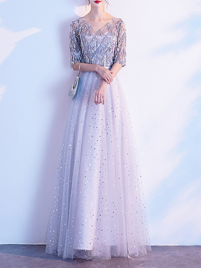 A-Line Glittering Grey Prom Formal Evening Dress V Neck Half Sleeve Floor Length Tulle Sequined with Sequin Draping 2020