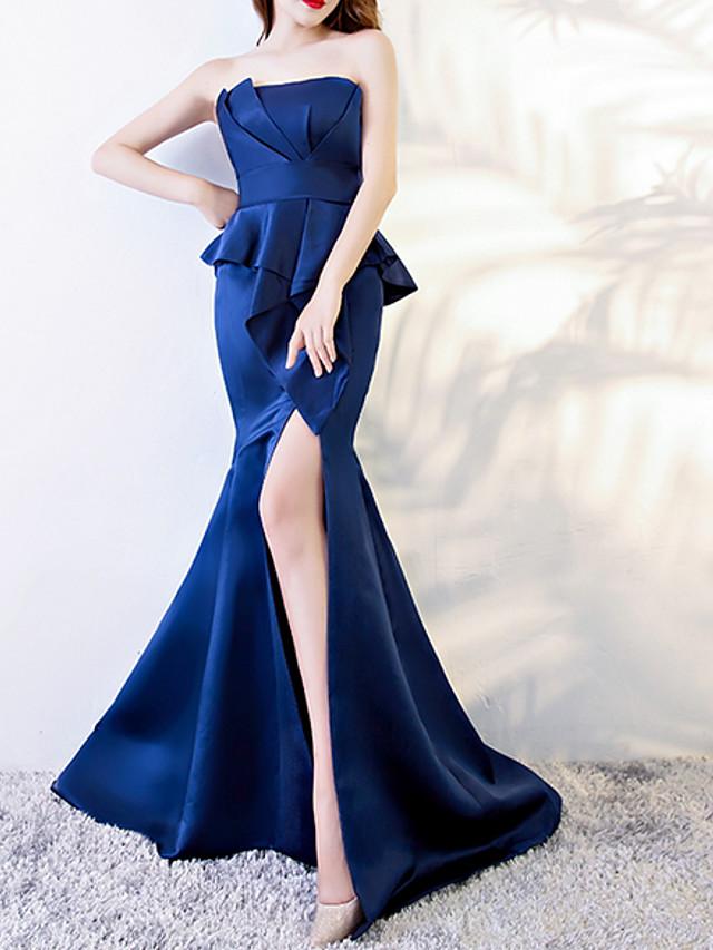Mermaid / Trumpet Peplum Blue Engagement Formal Evening Dress Strapless Sleeveless Sweep / Brush Train Polyester with Ruffles Split 2020