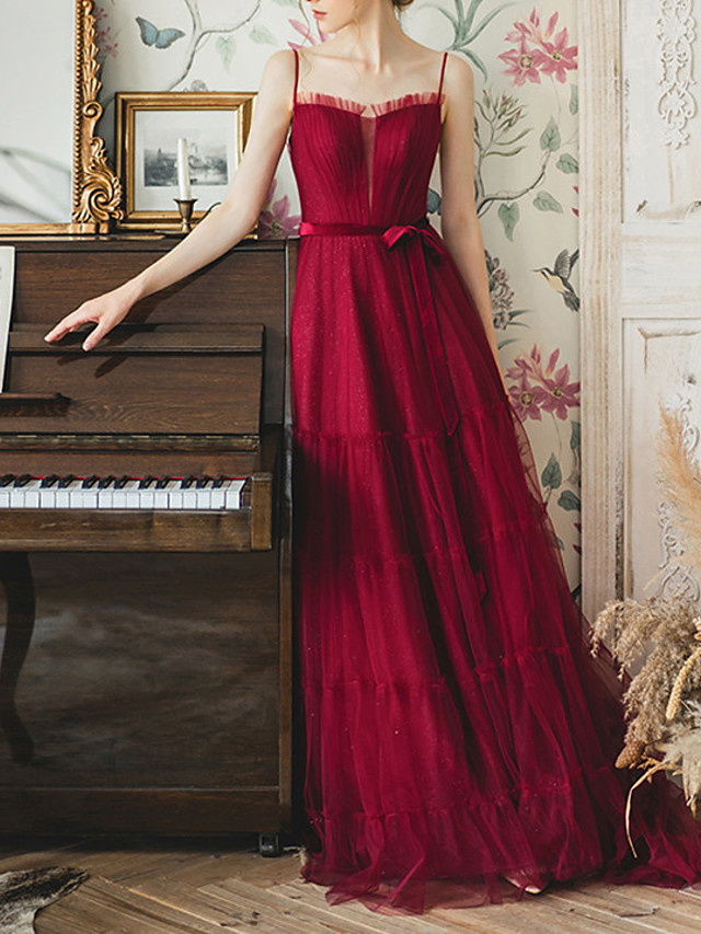 A-Line Empire Red Engagement Prom Dress Off Shoulder Sleeveless Floor Length Lace Satin Tulle with Bow(s) Pleats 2020