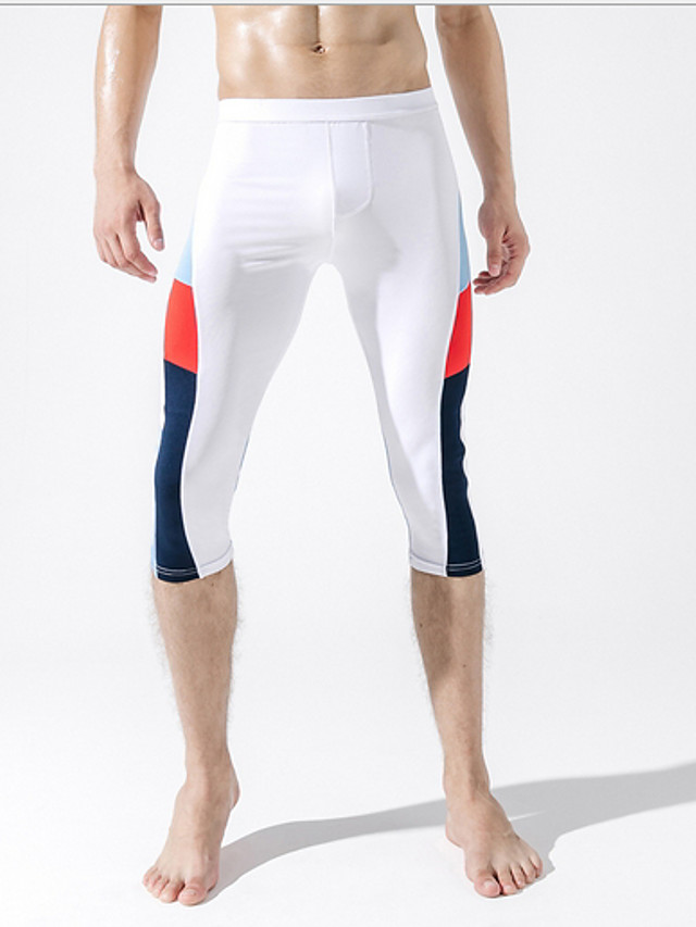 Men's Normal Polyester Sexy Long Johns Color Block Mid Waist