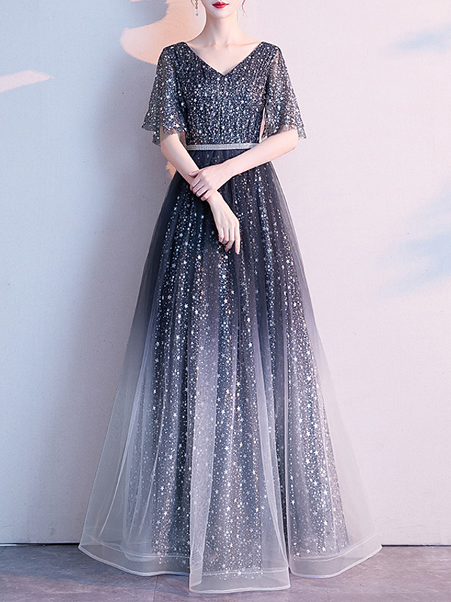 A-Line Color Block Black Engagement Formal Evening Dress V Neck Half Sleeve Floor Length Tulle with Sequin 2020