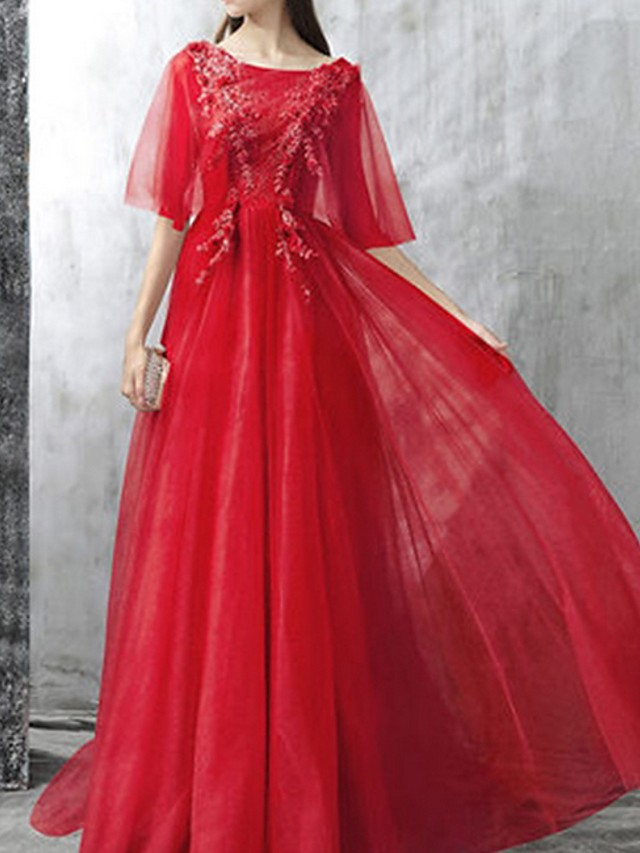 A-Line Pink Red Prom Formal Evening Dress Boat Neck Half Sleeve Sweep / Brush Train Polyester with Appliques 2020