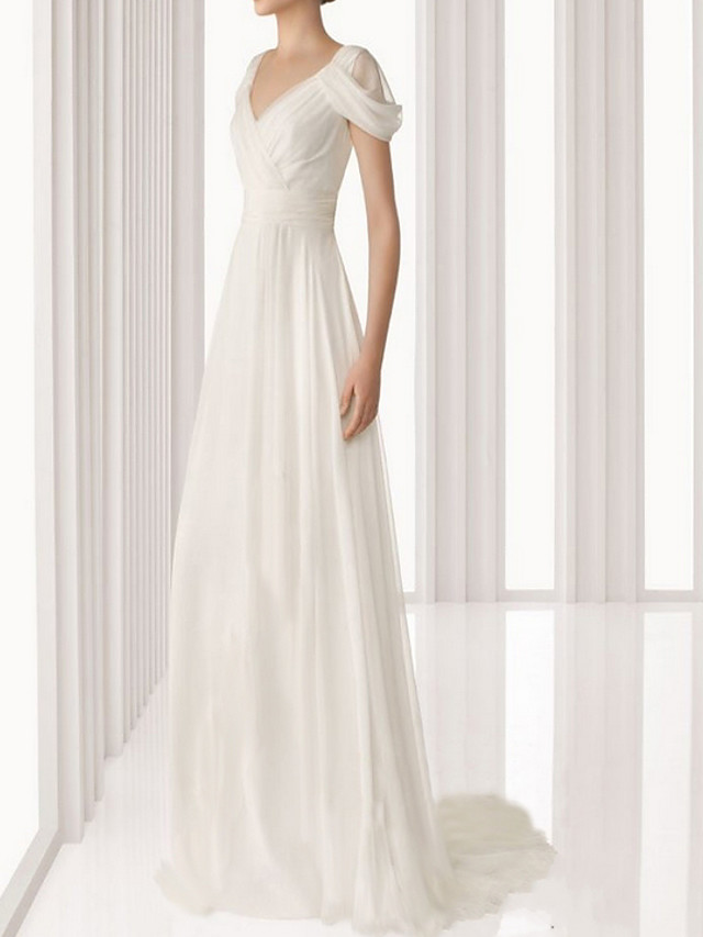Sheath / Column Empire White Engagement Prom Dress V Neck Sleeveless Floor Length Polyester with Pleats 2020
