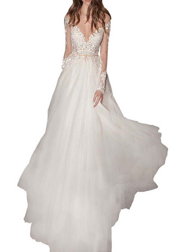 A-Line Sexy White Engagement Formal Evening Dress Illusion Neck Long Sleeve Floor Length Polyester with Appliques 2020