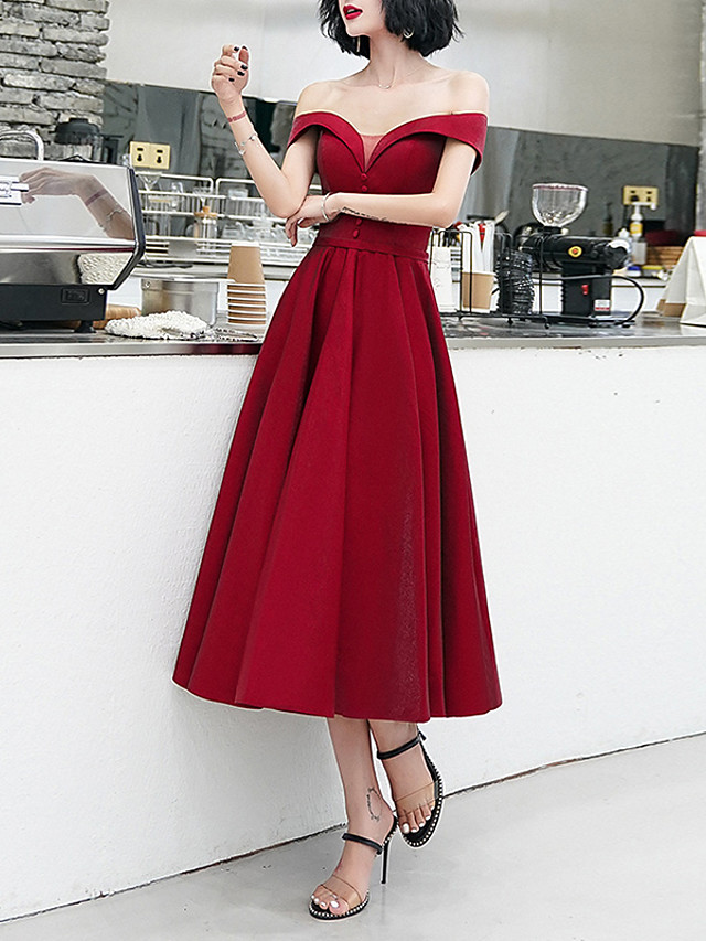A-Line Minimalist Red Cocktail Party Prom Dress Off Shoulder Short Sleeve Tea Length Satin with Buttons 2020