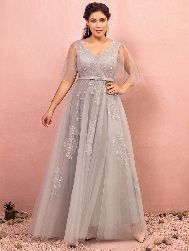 A-Line Plus Size Grey Prom Formal Evening Dress V Neck Half Sleeve Floor Length Lace Satin Tulle with Bow(s) Beading 2020 / Illusion Sleeve