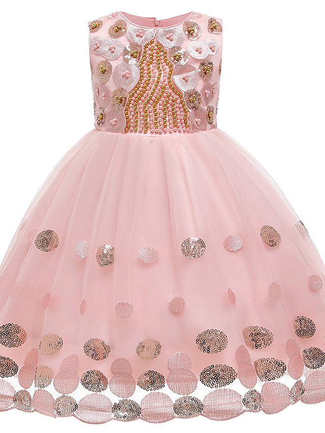 Kids Girls' Cute Butterfly Solid Colored Sequins Bow Embroidered Sleeveless Knee-length Dress Blushing Pink