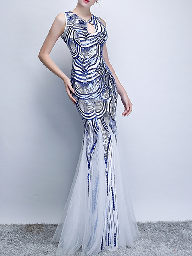 Mermaid / Trumpet Sexy Blue Engagement Formal Evening Dress Jewel Neck Sleeveless Floor Length Polyester with Sequin Appliques 2020