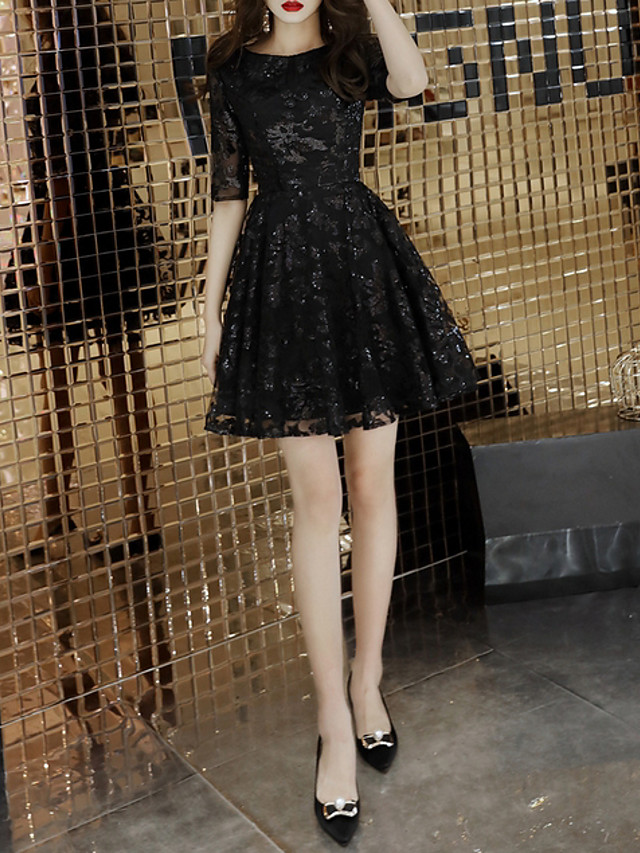 A-Line Hot Black Homecoming Party Wear Dress Jewel Neck Half Sleeve Short / Mini Polyester with Sequin 2020