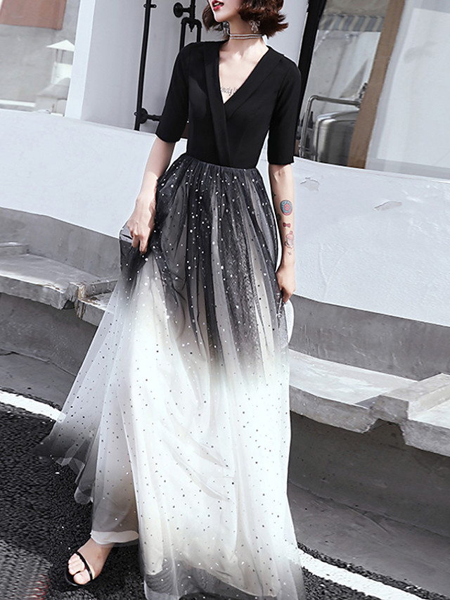 A-Line Color Block Black Wedding Guest Formal Evening Dress V Neck Half Sleeve Floor Length Tulle Spandex with Sash / Ribbon Sequin 2020