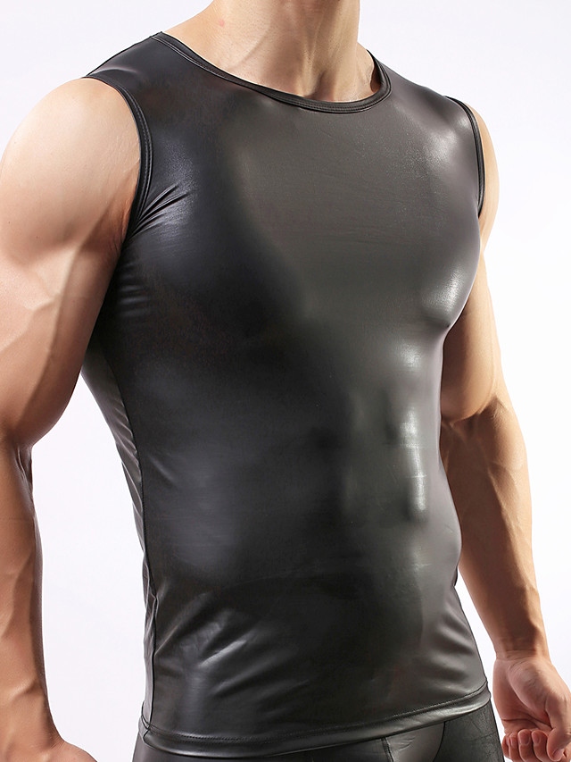Men's Asian Size Sexy Round Neck Undershirt Solid Colored