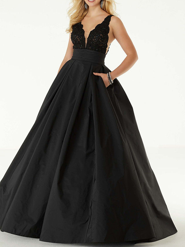 Ball Gown Sexy Black Homecoming Prom Dress V Neck Sleeveless Floor Length Lace Satin with Pleats Beading 2020