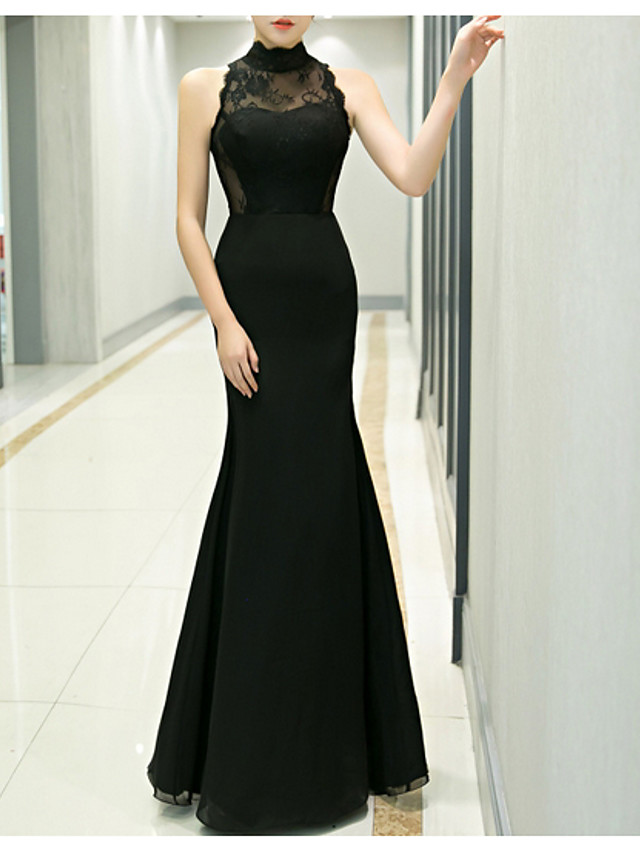 Mermaid / Trumpet Sexy Black Prom Formal Evening Dress High Neck Sleeveless Floor Length Polyester with Appliques 2020