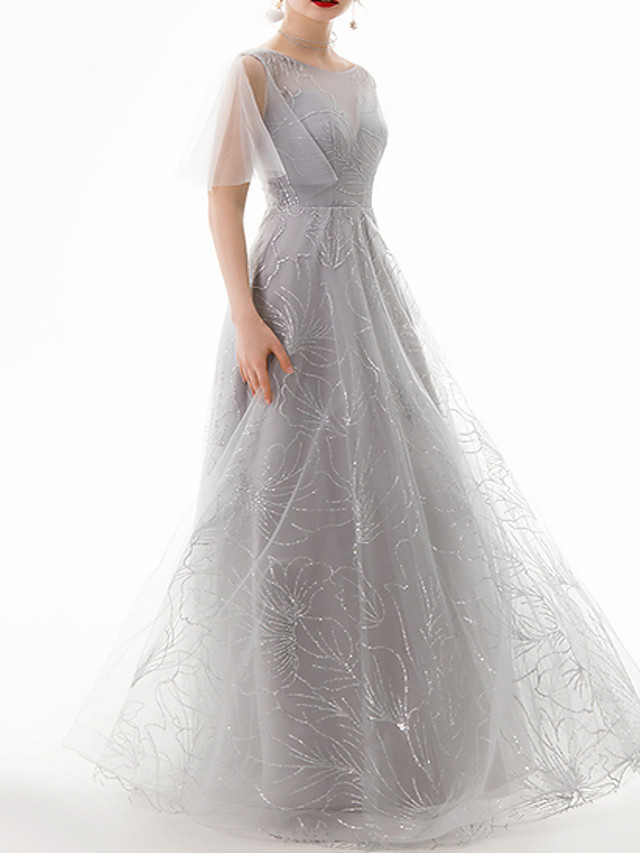 A-Line Luxurious Grey Engagement Prom Dress Jewel Neck Sleeveless Floor Length Polyester with Beading Sequin 2020