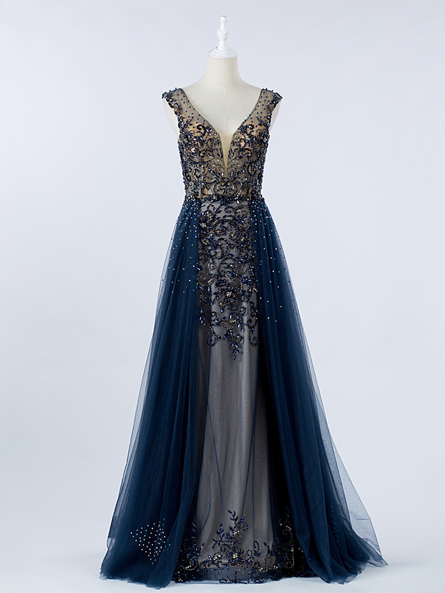 A-Line Luxurious Blue Prom Formal Evening Dress V Neck Sleeveless Sweep / Brush Train Tulle with Crystals Beading Overskirt 2020