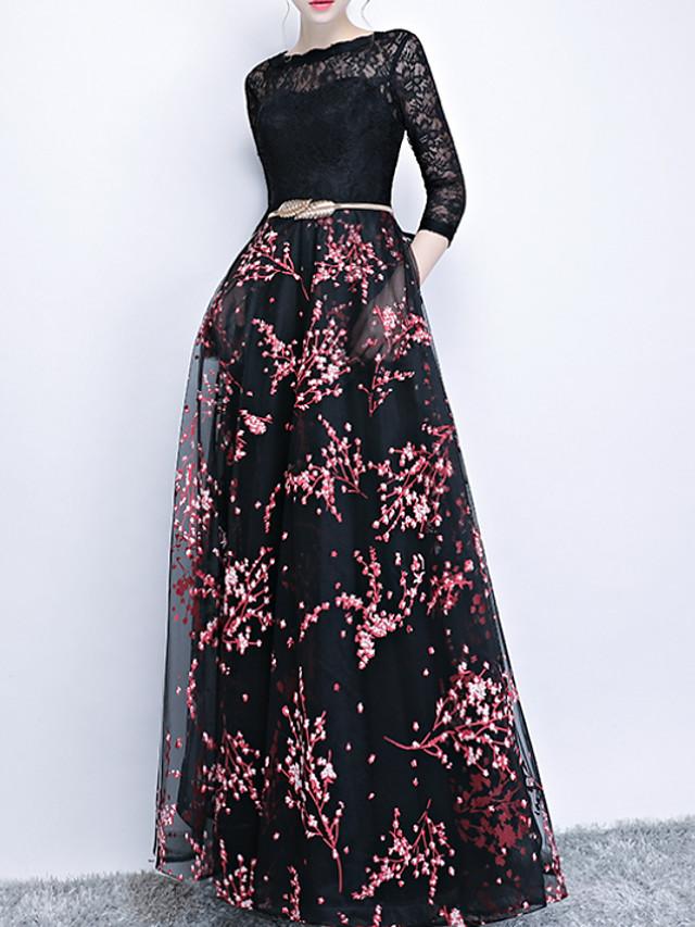 A-Line Elegant Black Engagement Prom Dress Jewel Neck 3/4 Length Sleeve Floor Length Polyester with Pattern / Print Appliques 2020