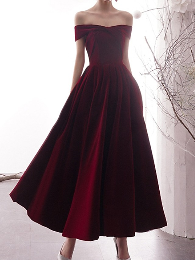 A-Line Minimalist Red Prom Formal Evening Dress Off Shoulder Short Sleeve Ankle Length Polyester with Pleats 2020