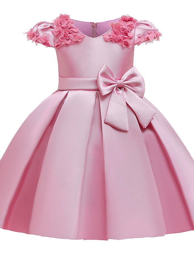 Kids Girls' Cute Butterfly Solid Colored Bow Short Sleeve Knee-length Dress Wine