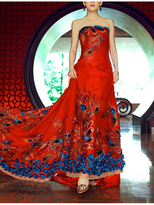 A-Line Chinese Style Red Engagement Formal Evening Dress Strapless Sleeveless Court Train Polyester with Beading Sequin Appliques 2020