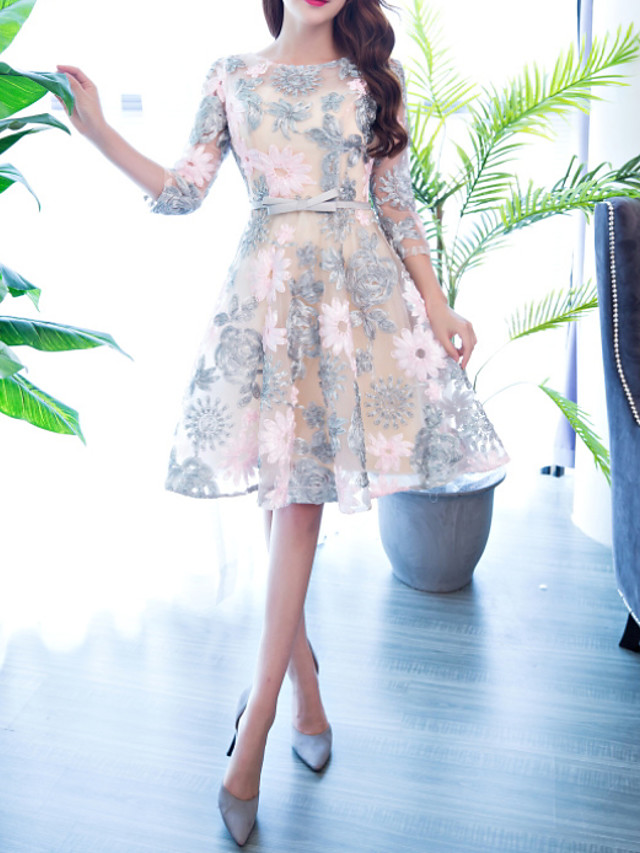 A-Line Grey Spring Homecoming Cocktail Party Dress Jewel Neck 3/4 Length Sleeve Knee Length Polyester with Sash / Ribbon Appliques 2020
