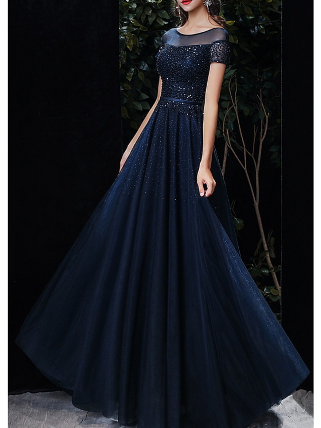 A-Line Empire Blue Prom Formal Evening Dress Illusion Neck Short Sleeve Floor Length Tulle with Beading Sequin 2020