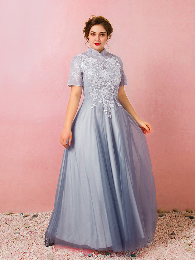 A-Line Chinese Style Prom Formal Evening Dress High Neck Short Sleeve Floor Length Lace Satin Tulle with Appliques 2021
