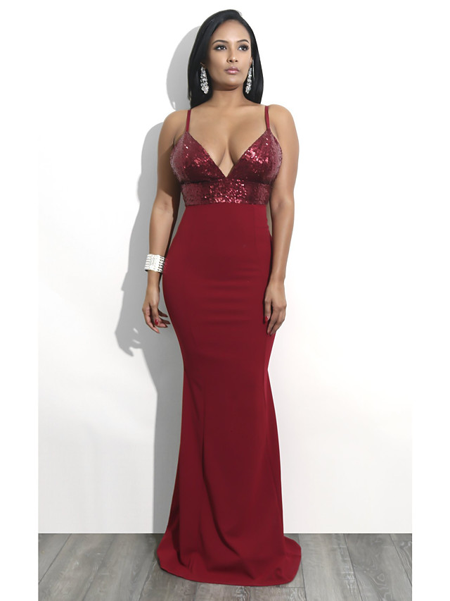 Mermaid / Trumpet Sexy Red Party Wear Formal Evening Dress V Neck Spaghetti Strap Sleeveless Floor Length Sequined Polyester with Sequin 2020