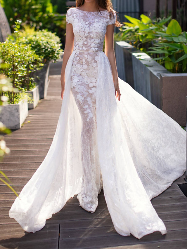 Mermaid / Trumpet Wedding Dresses Jewel Neck Sweep / Brush Train Lace Short Sleeve Formal Plus Size with Lace Appliques 2020