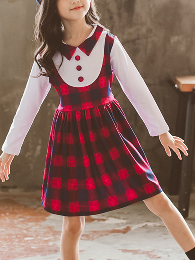 Kids Girls' Cute Red Color Block Check Lace up Patchwork Long Sleeve Above Knee Dress Purple