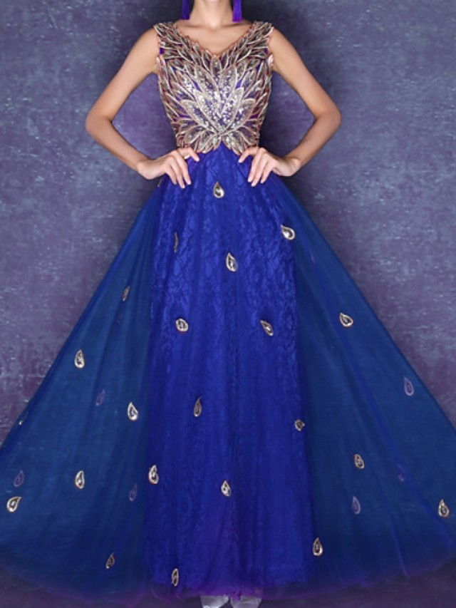 A-Line Hot Red Prom Formal Evening Dress V Neck Sleeveless Ankle Length Tulle with Sequin Appliques 2020