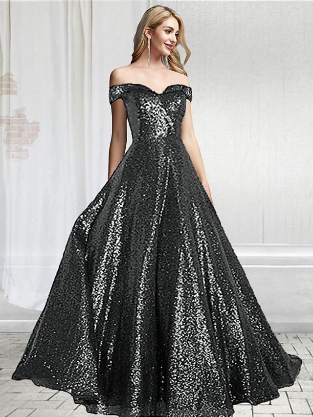 A-Line Sparkle Black Prom Formal Evening Dress Off Shoulder Short Sleeve Floor Length Sequined with Sequin 2020