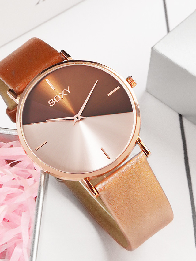 Women's Quartz Watches Fashion Black White Brown PU Leather Chinese Quartz White Brown Black Casual Watch 1 pc Analog One Year Battery Life