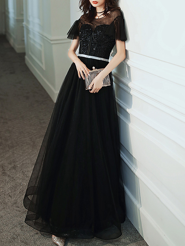 A-Line Glittering Black Prom Formal Evening Dress Illusion Neck Jewel Neck Short Sleeve Floor Length Tulle Sequined with Sequin 2020