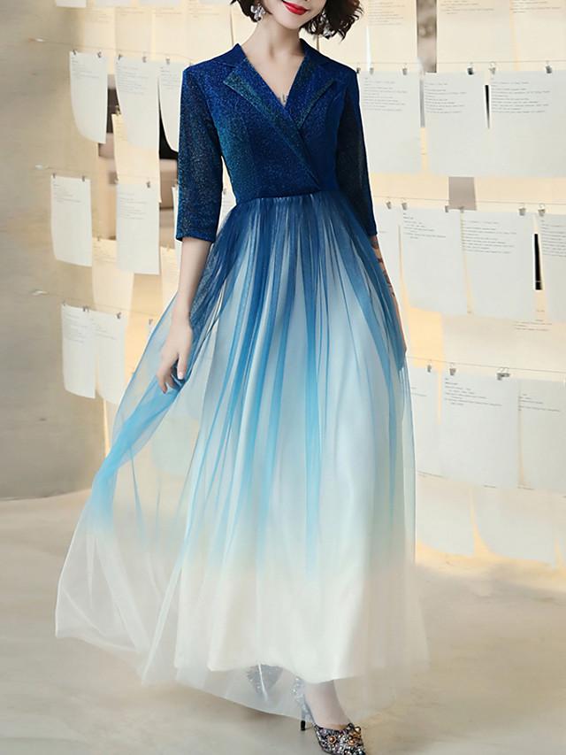 A-Line Glittering Blue Prom Formal Evening Dress V Neck Half Sleeve Floor Length Tulle with Sash / Ribbon Sequin 2020